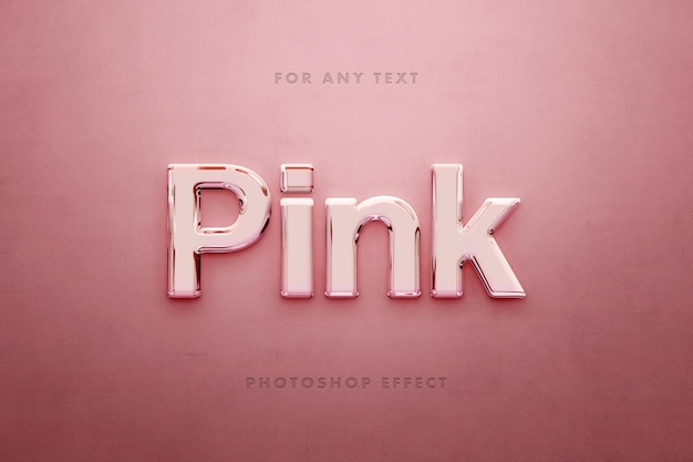 Glossy 3d pink text effect template
