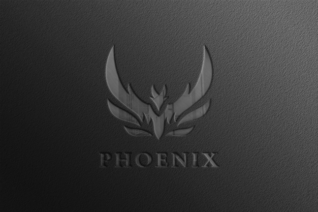 Glossy black company logo mockup with reflection