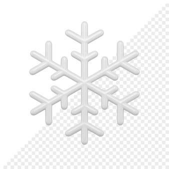 Глянцевая снежинка bwhite 3d визуализации. рождественский элемент декоративного дизайна. минималистичное украшение для новогодних праздников на белом фоне.