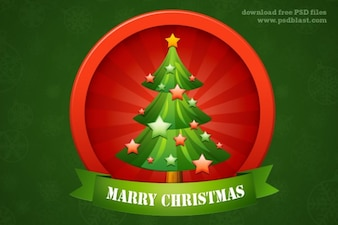 Glossy Christmas tree icon with stars
