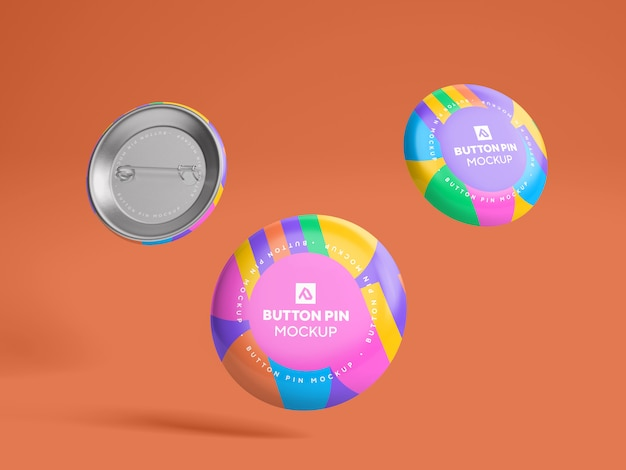 Glossy circle button pin  mockup psd