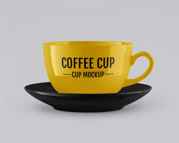 Glossy cup and saucer mockup