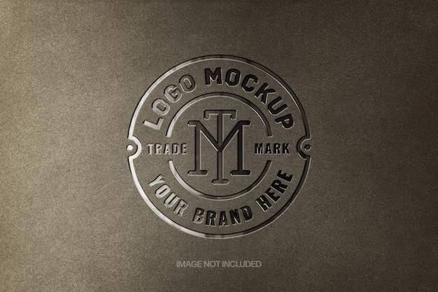 Glossy debossed logo mockup