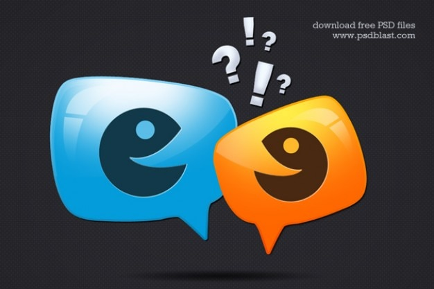 Glossy discussion icon  psd