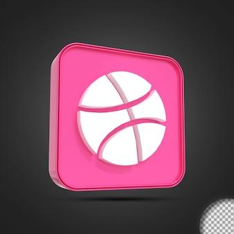 광택 있는 드리블 소셜 미디어 로고 아이콘 3d 렌더링