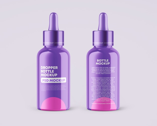 Glossy dropper bottles mockup