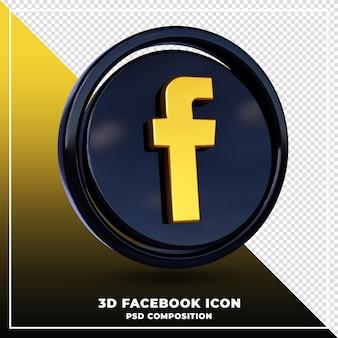 光沢のあるfacebookのロゴは3dデザインのレンダリングを分離しました