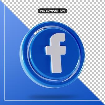 光沢のあるfacebookのロゴは3dデザインを分離しました