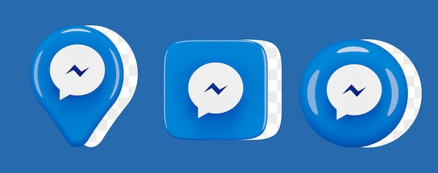 Набор иконок глянцевый facebook messenger