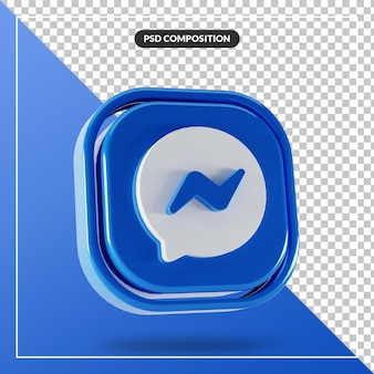 Logo di messenger facebook lucido isolato design 3d