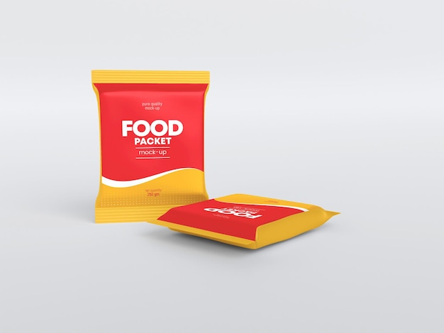 Глянцевый макет пакета еды