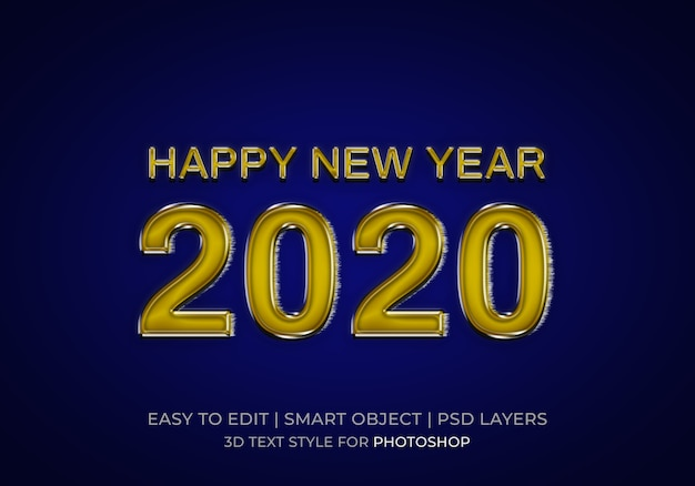 Glossy happy new year 2020 text style
