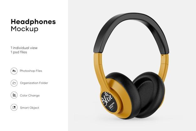 Glossy headphones mockup