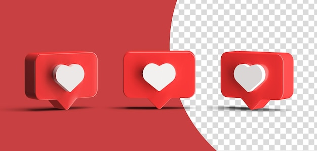Glossy instagram like social media logo icon set 3d render isolated
