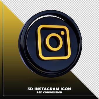 光沢のあるinstagramのロゴは3dデザインのレンダリングを分離しました