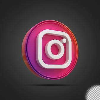 Глянцевый instagram значок логотипа социальных сетей 3d-рендеринга