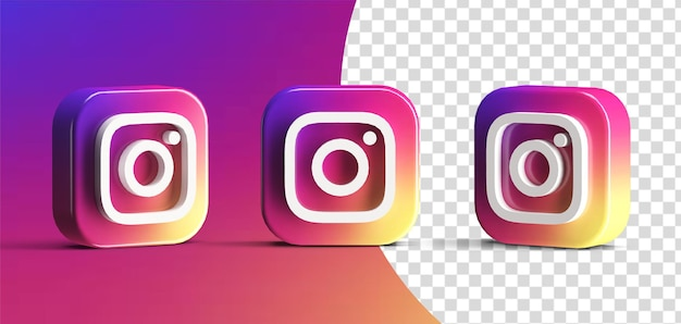 Glossy instagram social media logo icon set 3d render isolated