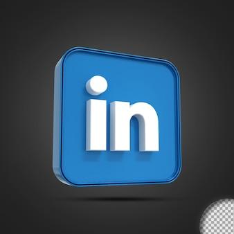 광택 있는 linkedin 소셜 미디어 로고 아이콘 3d 렌더링