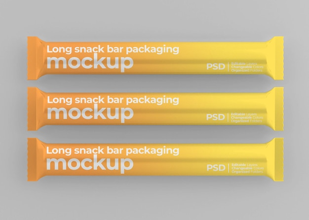 Glossy long snack bar mockup isolated