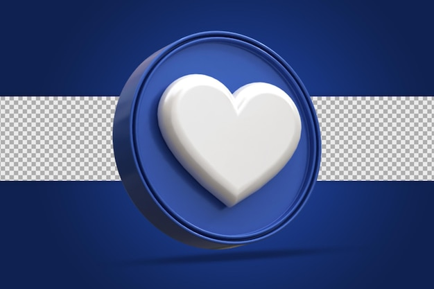 Глянцевая любовь в социальных сетях значок логотипа 3d-рендеринга