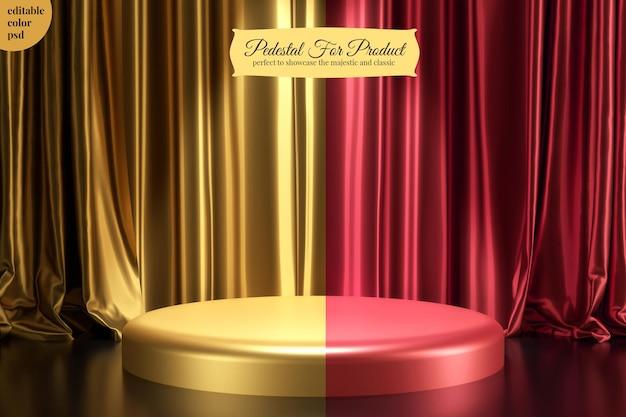황금 실크 새틴 커튼 컴포지션 렌더링이있는 광택 금속 원형 제품 받침대