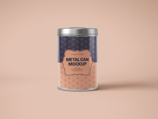Glossy metal tin can box mockup