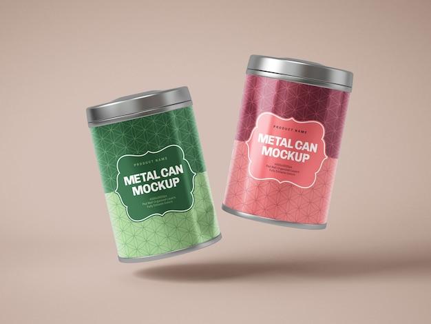 Glossy metal tin can box mockup