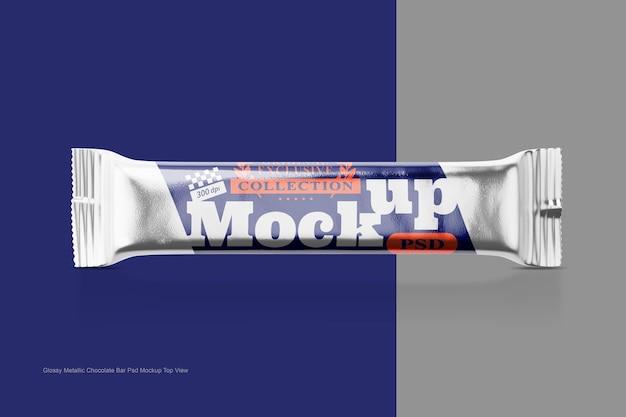 光沢のあるメタリックチョコレートバーpsdモックアップ上面図