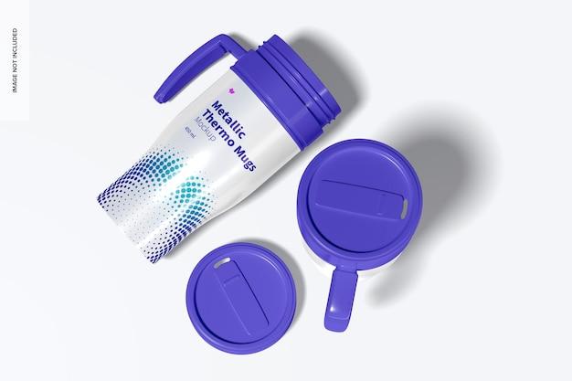 Glossy metallic thermo mug with blue lids mockup