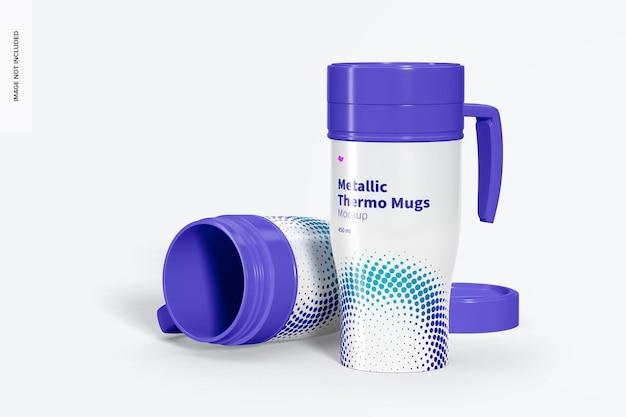 Glossy metallic thermo mugs mockup