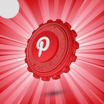광택 pinterest 로고 절연 3d 디자인