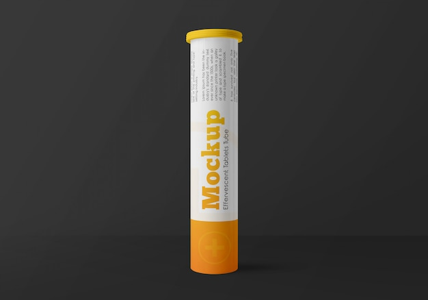 Glossy plastic effervescent tablets tube mockup
