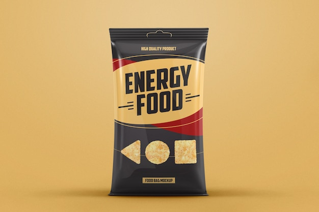 Glossy plastic food bag mockup
