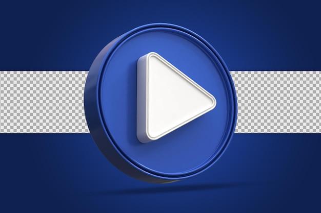 Глянцевая кнопка воспроизведения социальных сетей логотип значок 3d-рендеринга