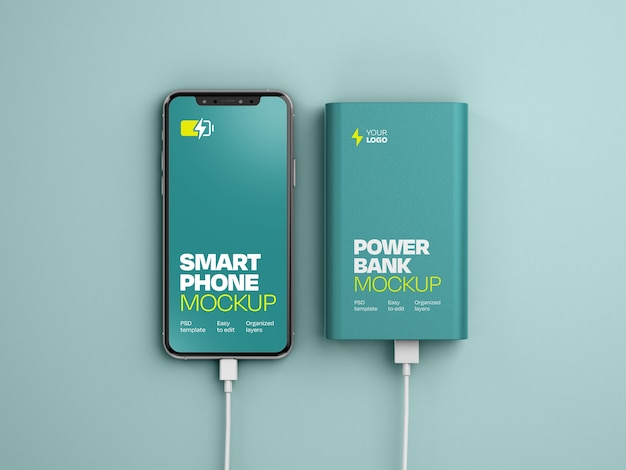 Glossy power bank with smartphone mockup