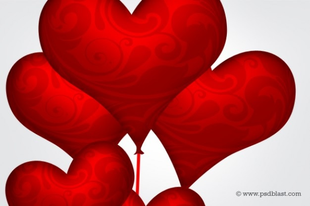 Glossy red heart balloons psd