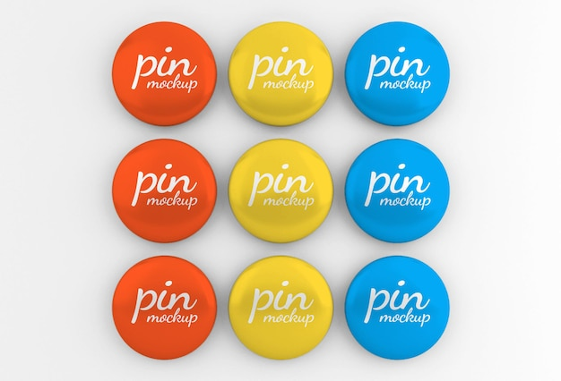 Glossy rounded badge or button pin mockup