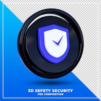 光沢のある安全なセキュリティロゴは、3dデザインレンダリングを分離しました