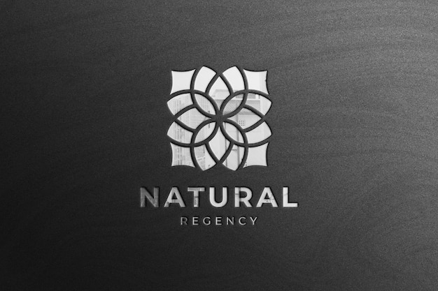 Glossy silver company logo mockup with reflection
