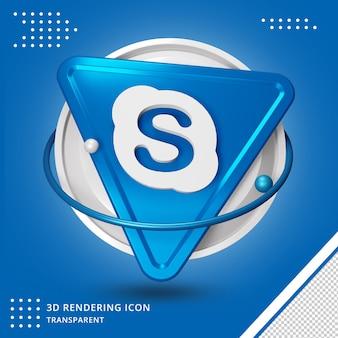 광택있는 skype 로고 절연 3d 디자인