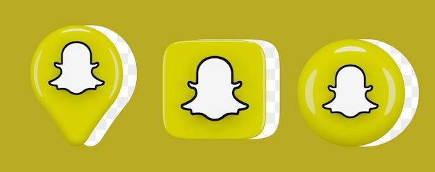 광택 있는 snapchat 아이콘 세트