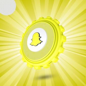 광택 snapchat 로고 절연 3d 디자인