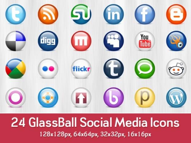 Glossy social media icons  psd & png