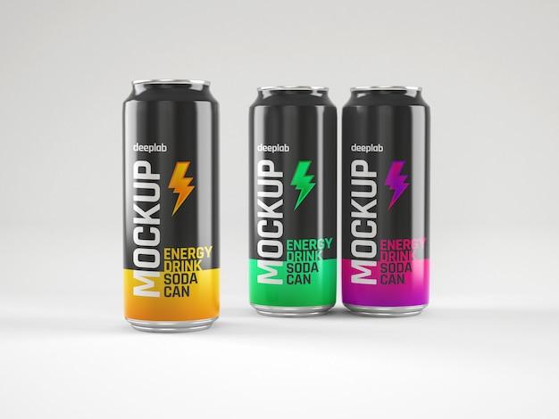 Glossy soda cans mockup