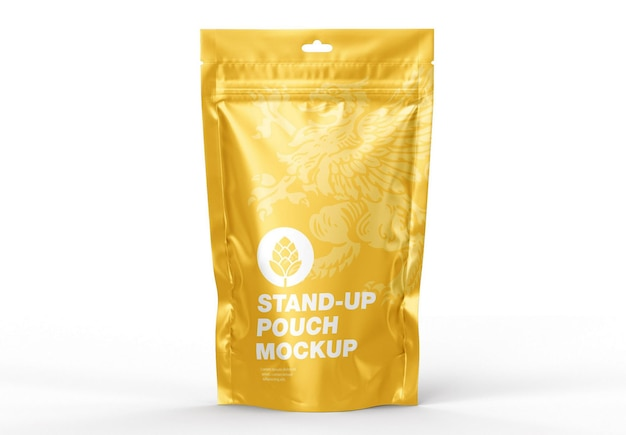 Glossy standup pouch mockup