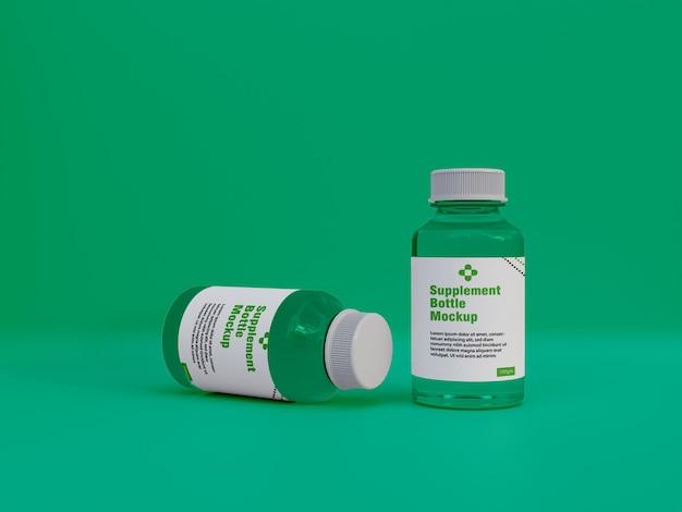光沢のあるサプリメント薬瓶モックアップ3d