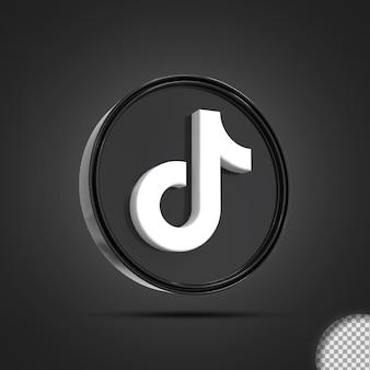 Глянцевый значок логотипа социальных сетей tiktok 3d-рендеринга