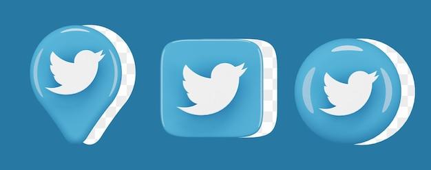 광택 있는 트위터 아이콘 세트