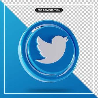光沢のあるtwitterロゴ分離3dデザイン