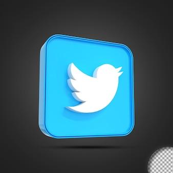 Глянцевый twitter значок логотипа социальных сетей 3d-рендеринга